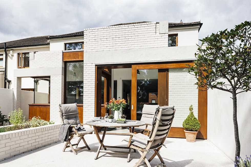 alfresco dining area outside the architectural kitchen extension