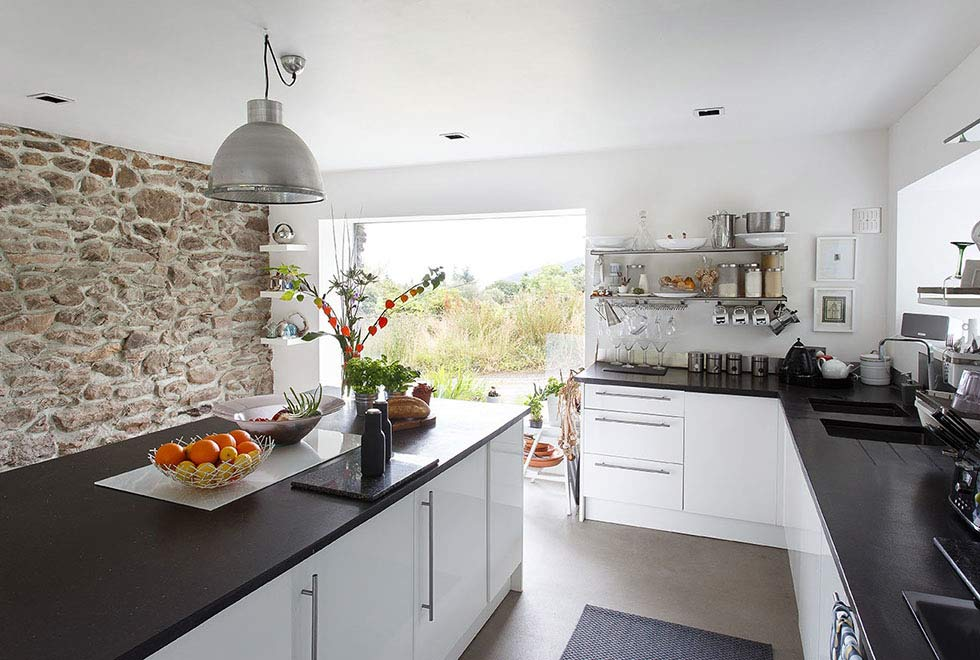 contemporary kitchen in a stone barn conversion