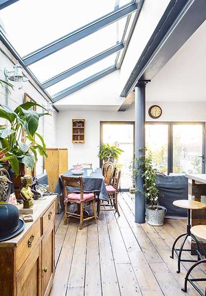 industrial style with reclaimed flooring and a glazed pitched roof in a Victorian Terraced house