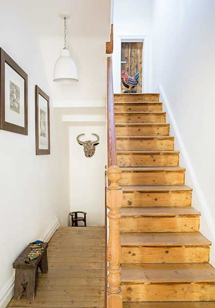 original stairs in a Victorian terraced house renovation hallway