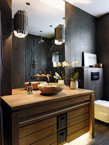 Dramatic black bathroom makeover