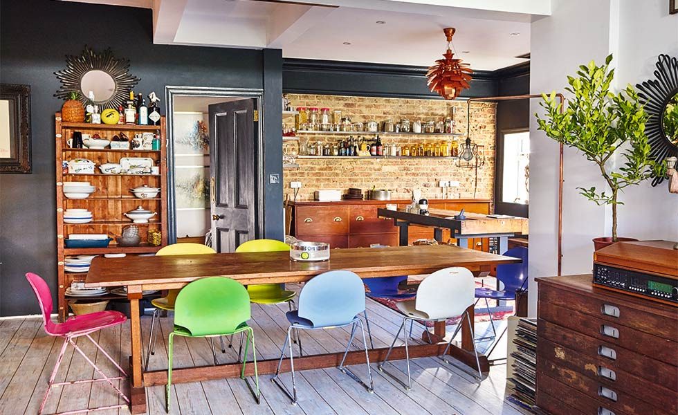open-plan-kitchen-diner-colourful-chairs