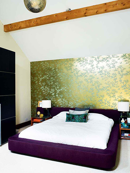 glamarous metalic wallpaper in a contemporary bedroom