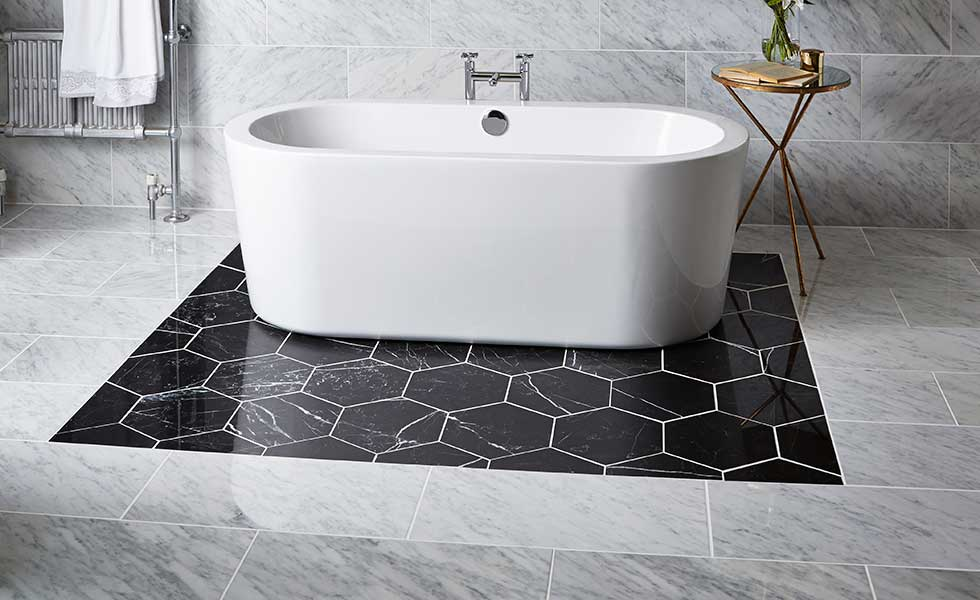 Carrara hexagonal slate and ocean silver titles