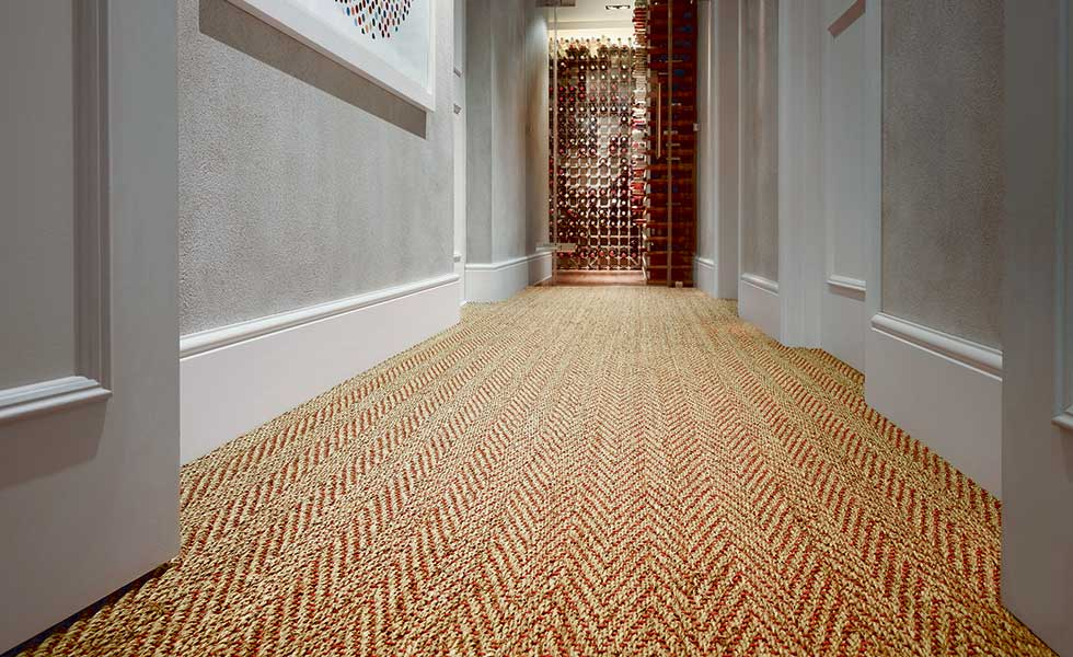 Seagrass Herringbone red weft carpet