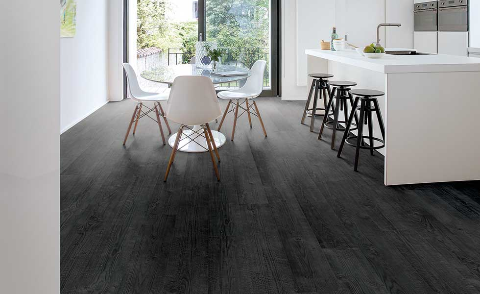 Burned plank laminate flooring