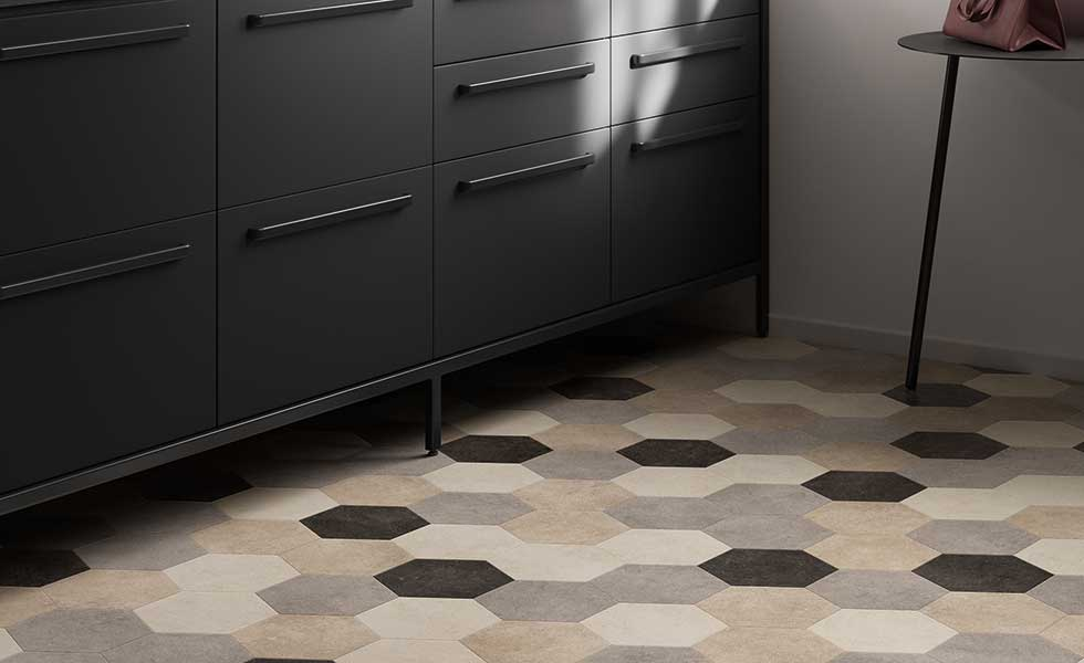 Hexagonal vinyl flooring