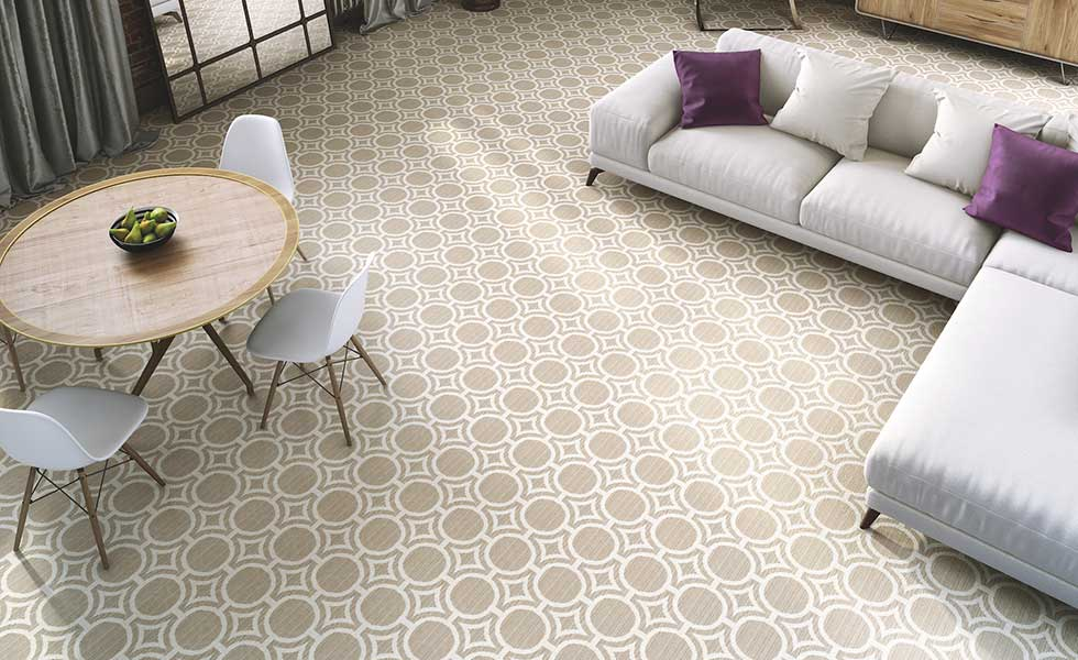 Egypt cotton beige patterned carpet