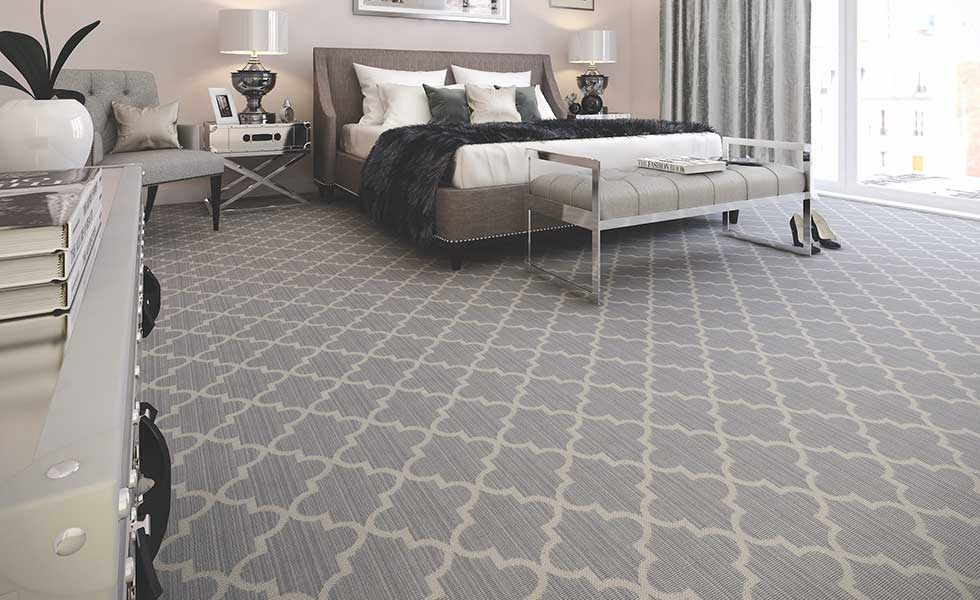 Grey Axminster carpet in bedroom