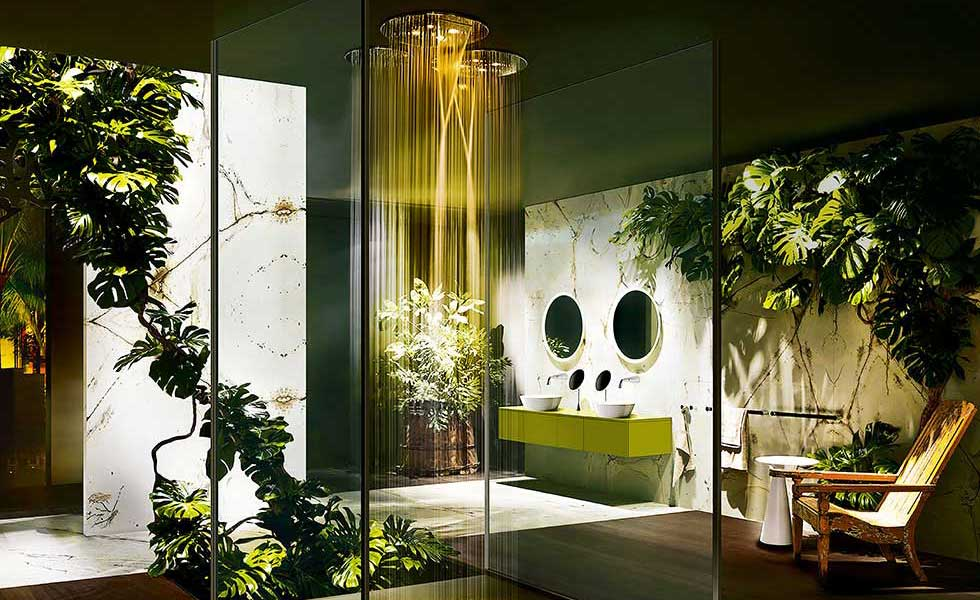Tropical style, waterfall shower with glass surround, soap style bathroom