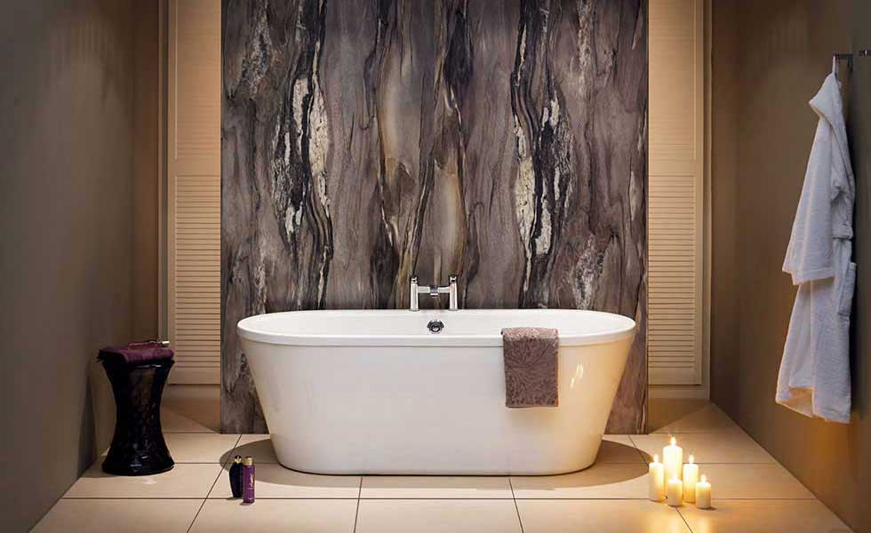 purple toned, artwork background, free standing bath spa style bathroom