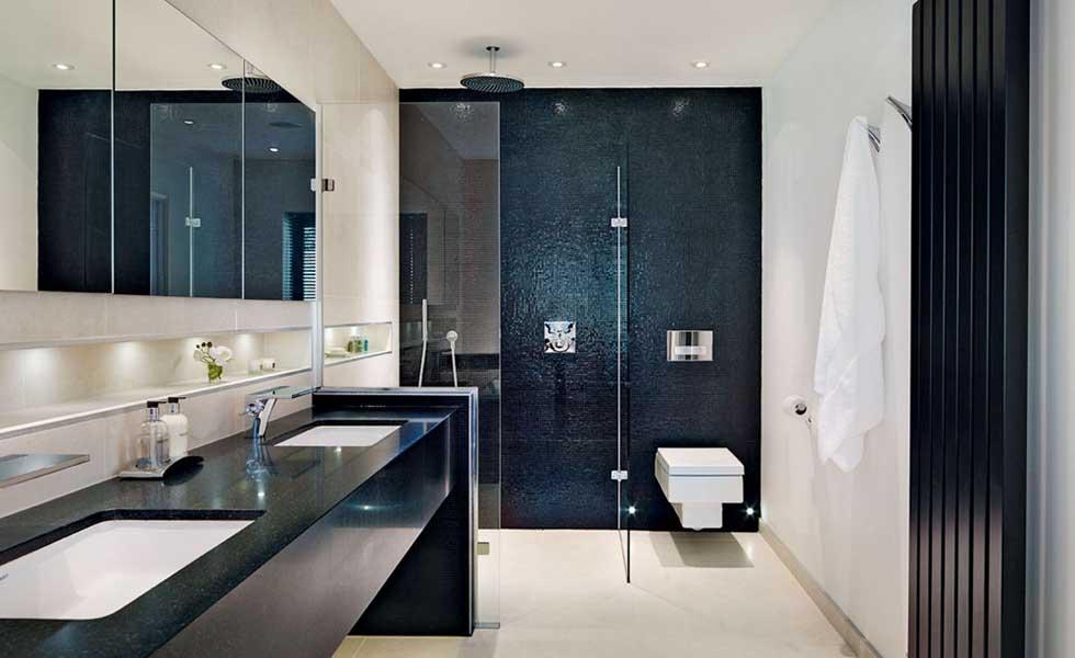 monochrome contemporary spa style bath room