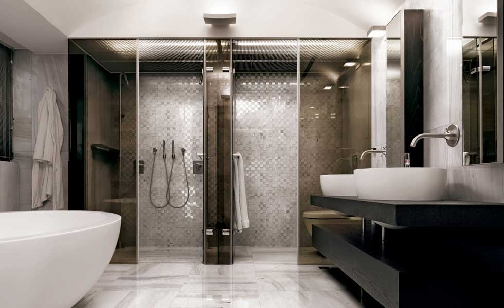 shower and sauna room spa style bathroom