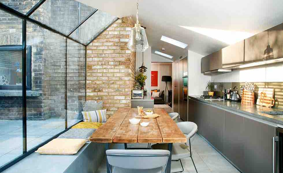Industrial Style Kitchen Attached To Period Property With Large Glass  Extension