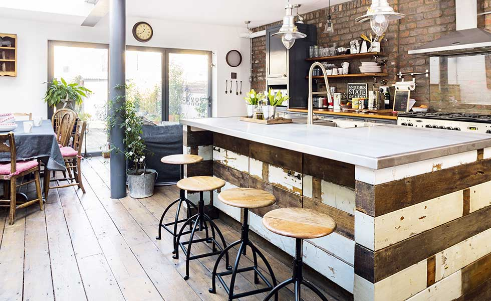 Reclaimed Wood Industrial Style Kitchen