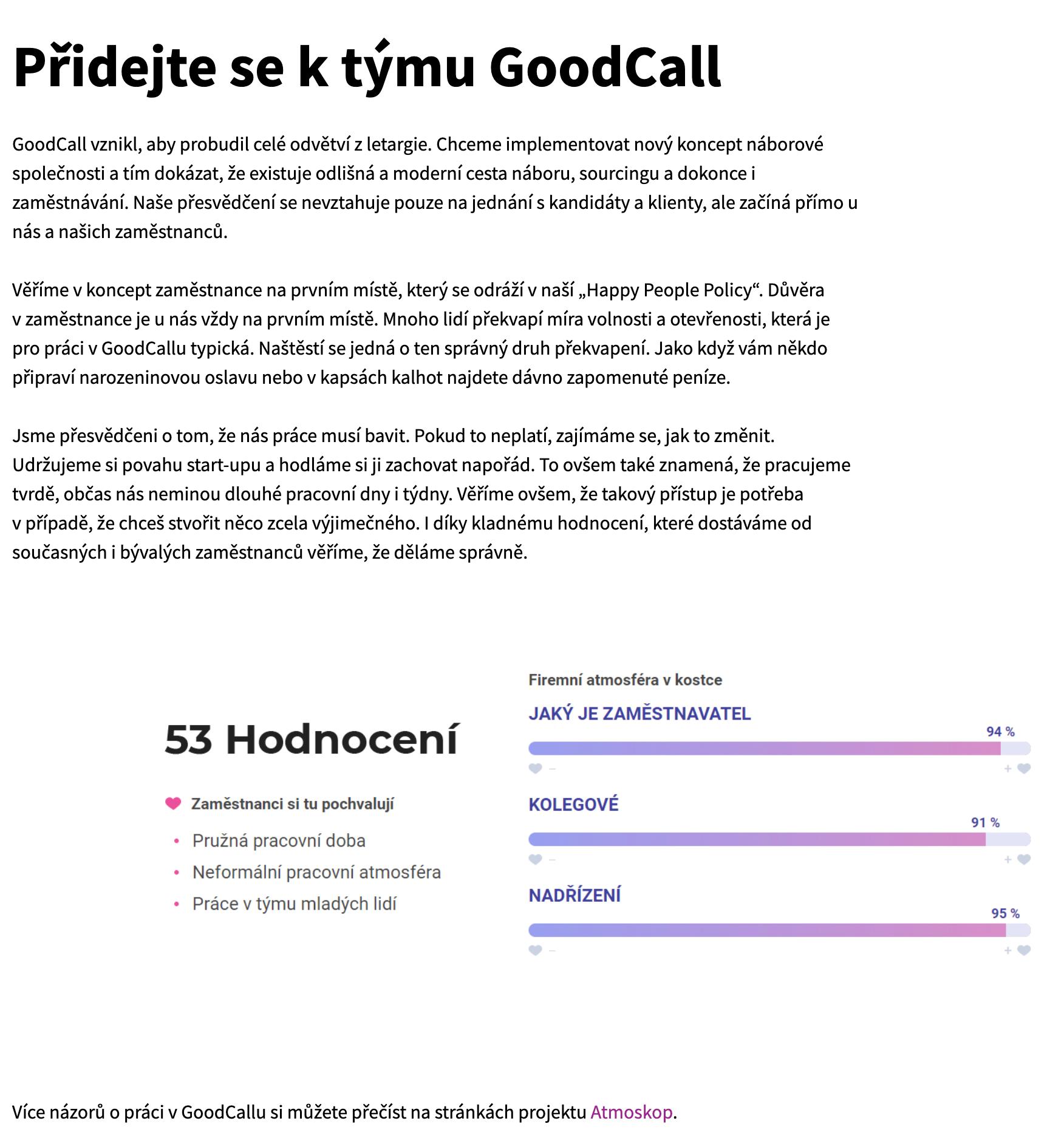 Kariérní stránky GoodCall