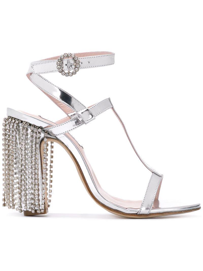 Leandra Medine - T-strap sandals with rhinestones - women - Silver