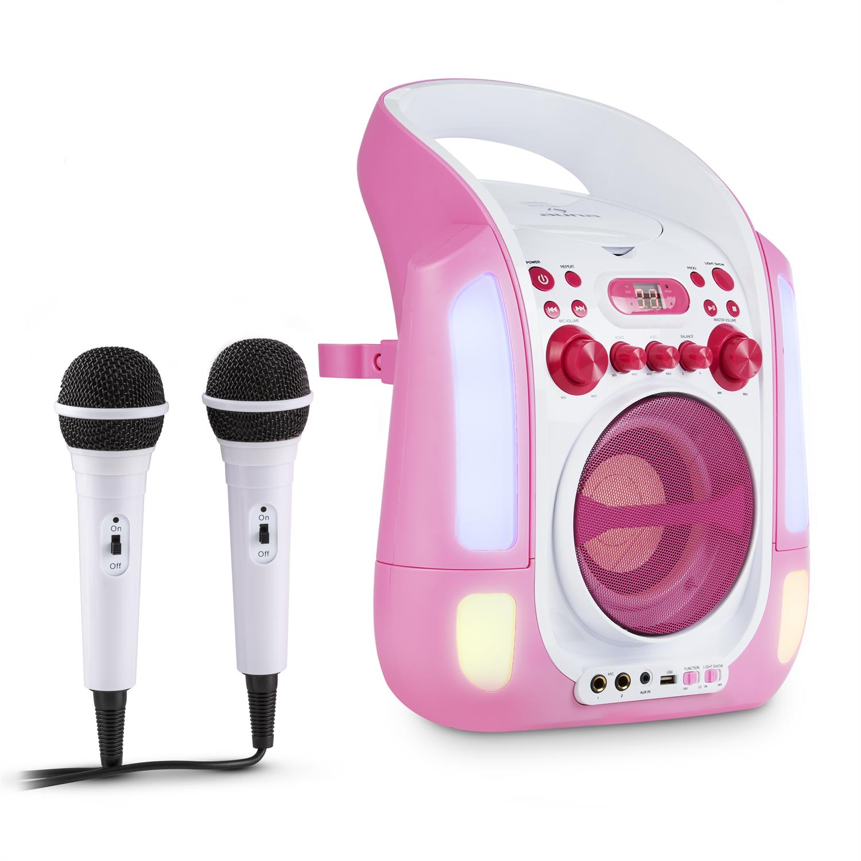 auna kara illumina roza karaoke sistem cd usb mp3. Black Bedroom Furniture Sets. Home Design Ideas