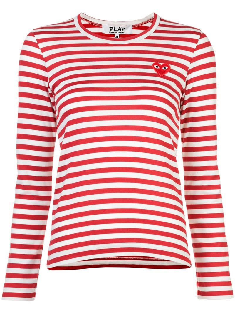 86653f64faddda Comme Des Garçons Play - little red heart striped T-shirt - women - White