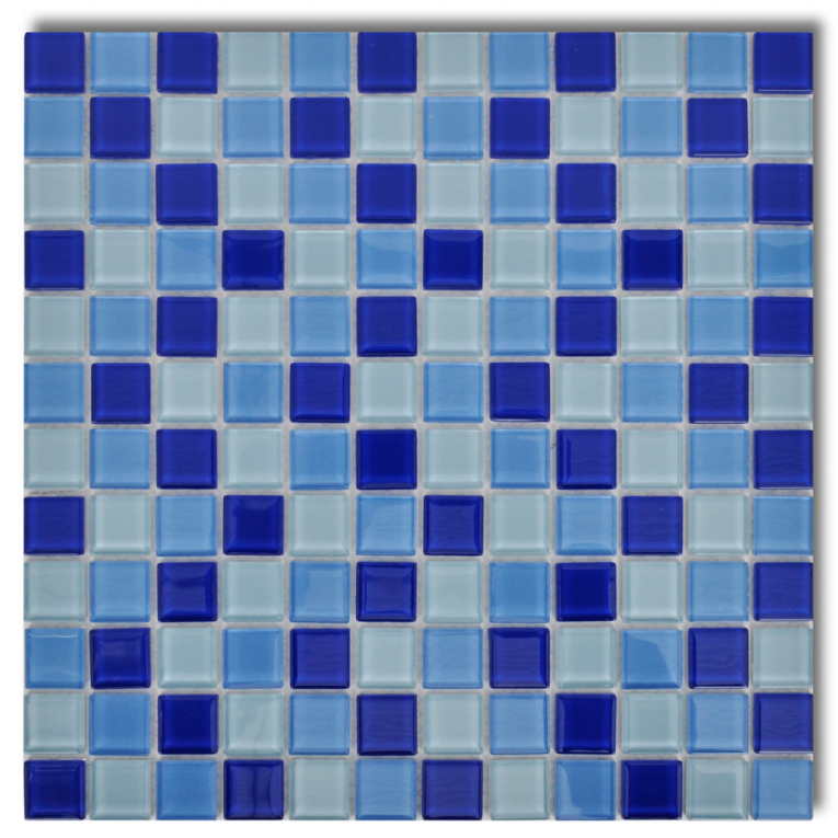 Vidaxl steklene mozaik plo ice modro bele 30 kosov for Adhesivo de montaje para azulejos