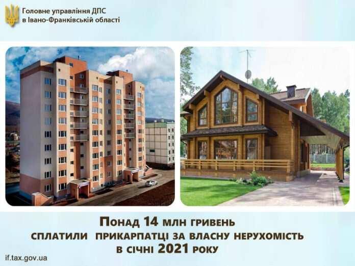 У січні прикарпатці сплатили 14 мільйонів гривень податку на нерухомість