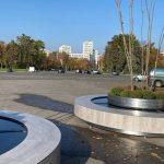 На площади Свободы установили передвижные клумбы с деревьями