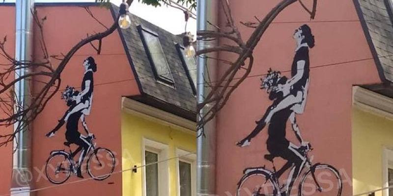 """""""Раком боком и с прискоком"""": пикантное граффити с парой на велосипеде в Одессе развеселило сеть"""