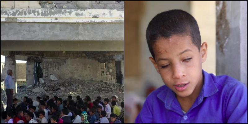Слепой с рождения: в Йемене 9-летний мальчик работает учителем в школе рядом с зоной боевых действий