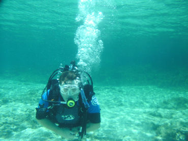 Aphrodites Rock undersea diver