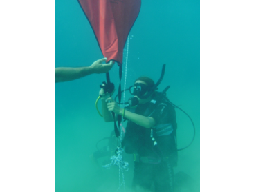 setting diver below sign