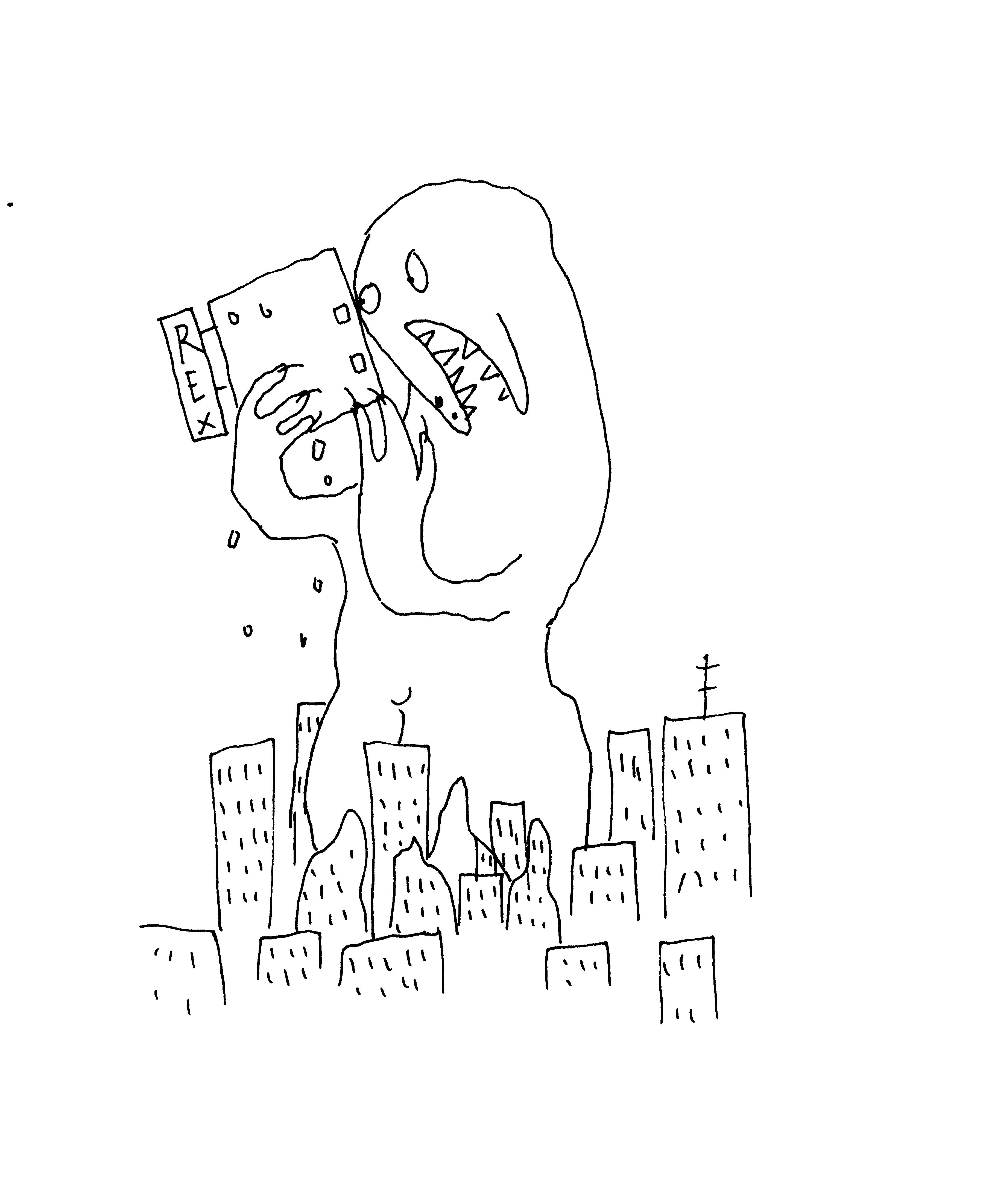 Ein Monster verwüstet die Stadt
