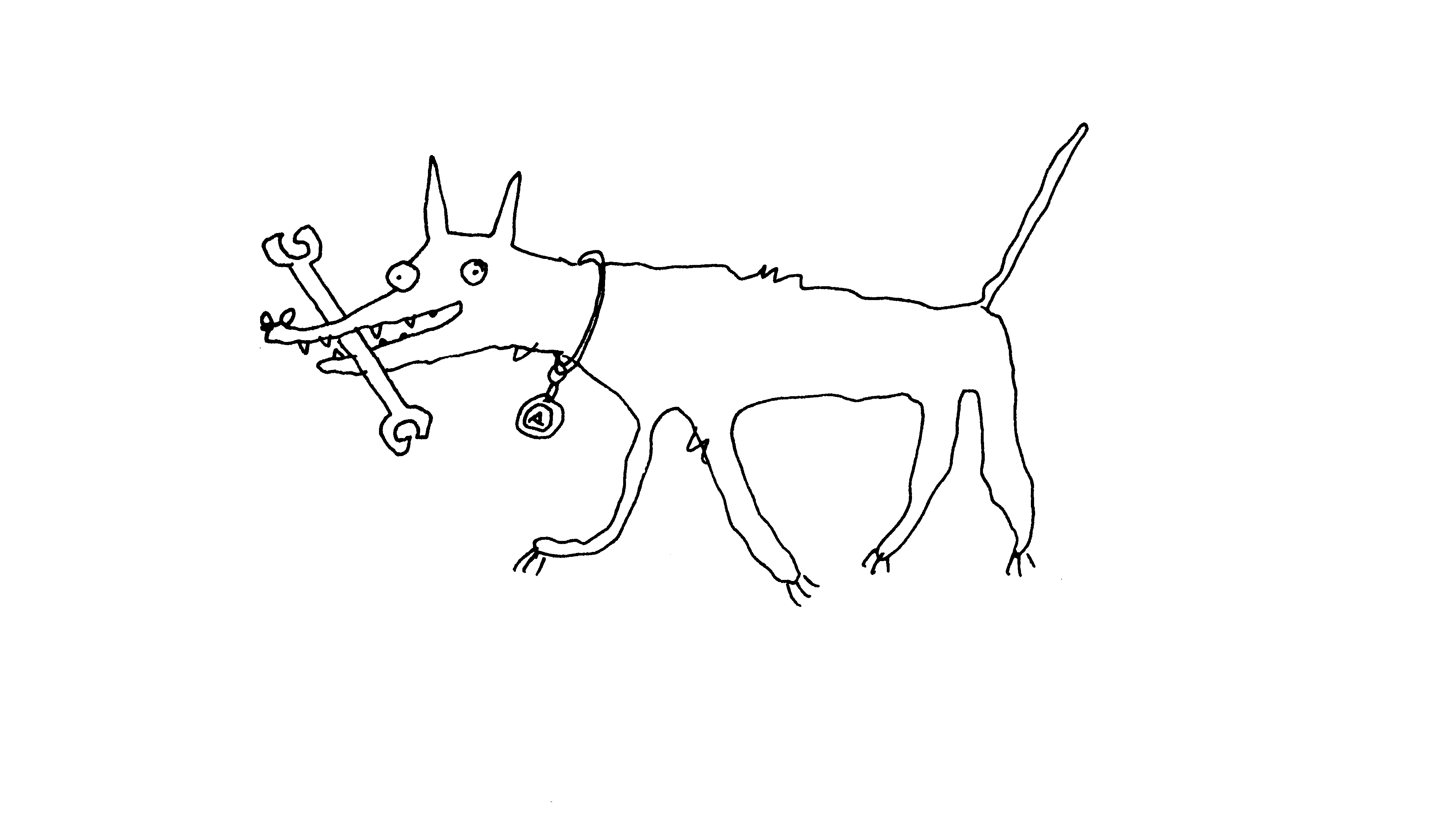 Ein laufender Hund mit einem Schraubenschlüssel