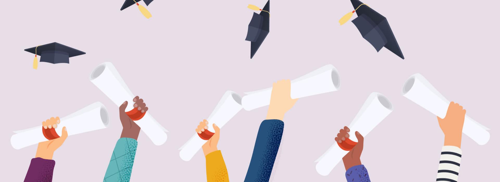 Afstuderen cartoon armen diploma in de lucht
