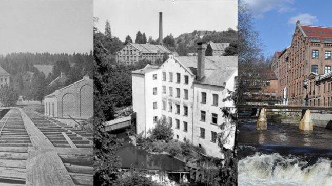 Til venstre: Tekstilfabrikken Nydalens Compagnie i 1878 (Foto: Per Adolf Thorén). I midten 1955, til høyre i dag.