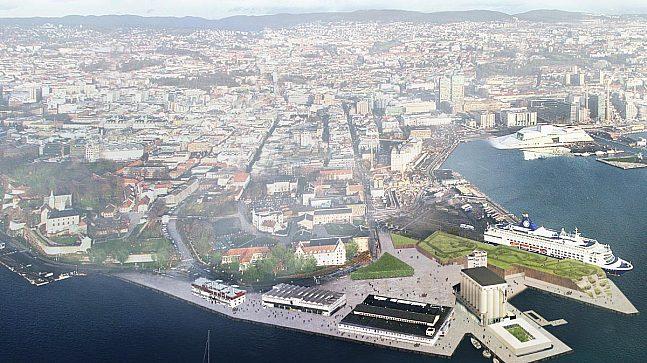 Illustrasjonen viser områdeprogrammets anbefalinger med hensyn til bevaring av bygninger, ny bebyggelse, park og offentlige rom og fjordtrikk.