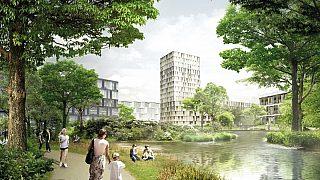 Illustrasjonen viser blågrønne kvaliteter i fremtidige Hovinbyen og er hentet fra konkurranseforslaget Hovin bynatur av JaJaArchitects. 