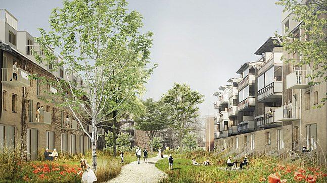 Illustrasjonen viser blågrønne kvaliteter i fremtidige Hovinbyen og er hentet fra konkurranseforslaget «Hovin bynatur» av JaJaArchitects. 