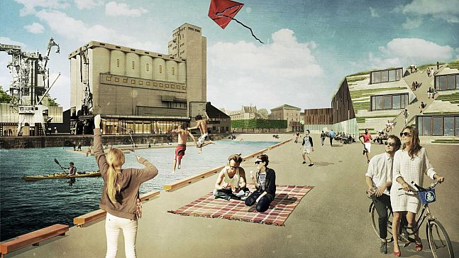 Illustrasjon viser siloen, Tenaljeplassen og Pir-bygget sett fra utstikker 2.