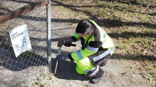 Nora klubber ned et grensemerke, der et gjerde fra før av står og markerer grensehjørnet.