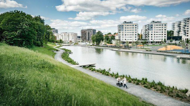 Teglverksdammen (nord for Grenseveien, nær Hovin) skal bidra til et godt bomiljø mellom de mange nye husene her.