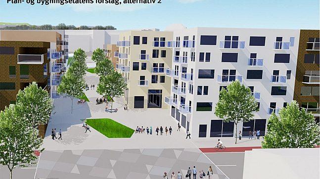 Alternativene er forskjellige i maks høyder ved torg / allmenning / Frysjaveien. Alternativ 1 (over) med inntil 8 etasjer (illustrasjon: A-lab), alternativ 2 (under) med inntil 6 etasjer.