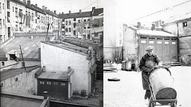 På 1950-tallet var det fremdeles en masse bygg i bakgårdene i Oslo, som her på Kampen