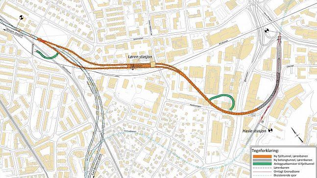 Lørenbanen er bare 1,6 km lang der den går i tunnel fra Sinsen til Økern.