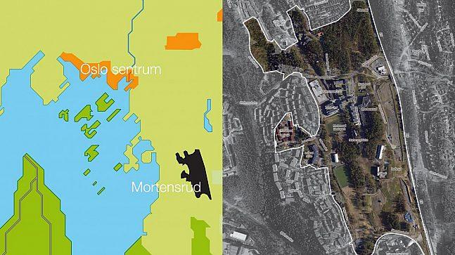 Mortensrud ligger langt sør i Oslo kommune (illustrasjonen til venstre). Flyfotoet til høyre viser området som det nye planprogrammet omfatter.