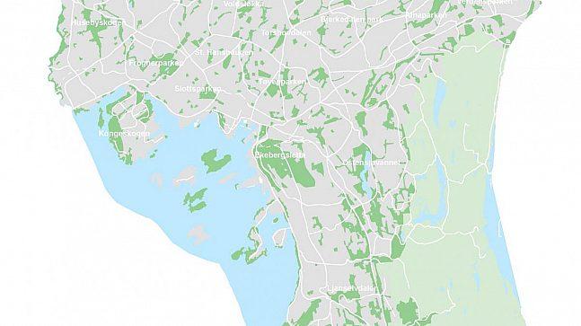 PARKBYEN OSLO: Kartet viser alle parker i Oslo som er over fem mål. Til sammenligning er en fotballbane på syv mål.