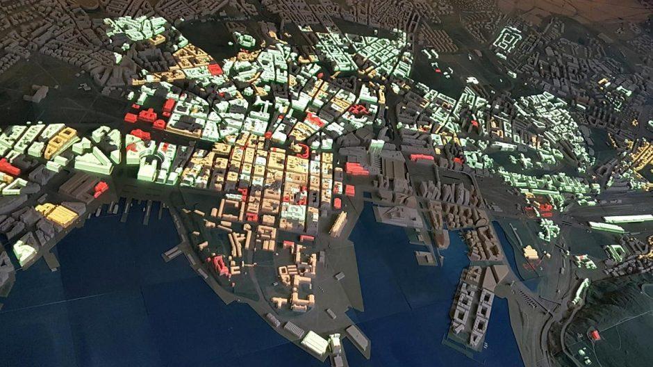 Modell som viser hvor vernede bygninger i Oslo er
