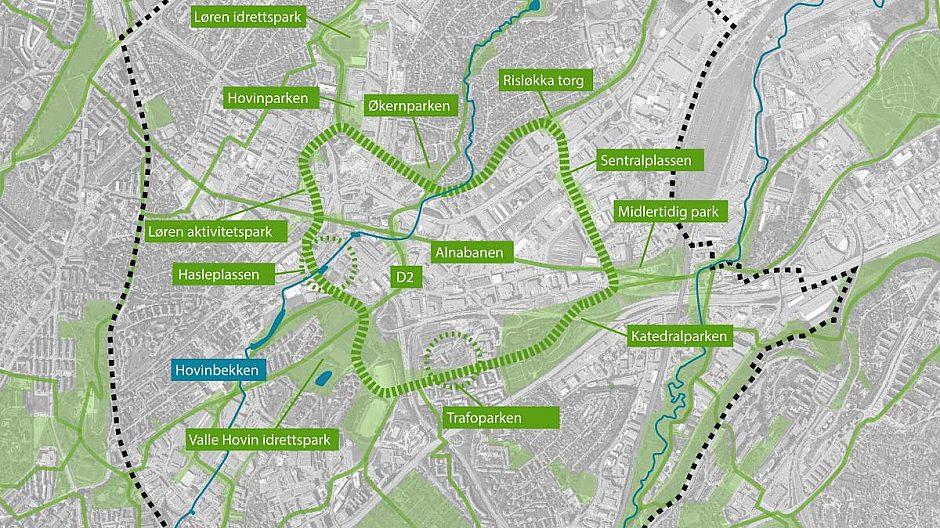 Det blir 11 parker, i tillegg til møteplasser og torg, langs den grønne ringen.