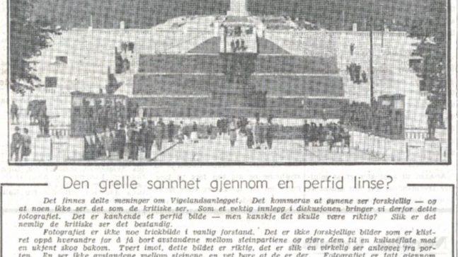 Teksten til dette bildet i Dagblandet 8. september 1945 viser noe av debatten og striden rundt oppføringen av Vigelandsanlegget..