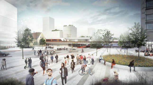 På Skøyen skal det bli lettere å bevege seg med tog, trikk, buss og det blir ny T-bane. Illustrasjonen viser hvordan Skøyen torg kan se ut