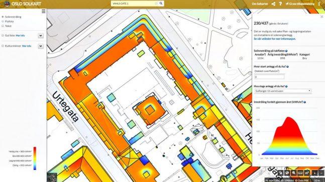 Plan- og bygningsetaten har i samarbeid med Klimaetaten utarbeidet et solkart